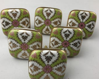 Stunning Set of 6 X LARGE SQUARE Vintage Style Green, Pink & White Patterned knobs edged in Gold colour