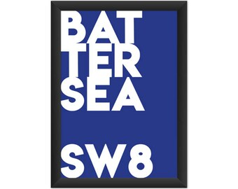 Battersea Typography SW8 - Giclée Art Print - South London Poster