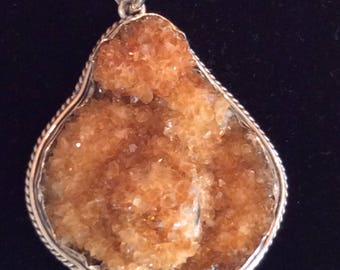 Citrine Druzy Pendant with sterling silver