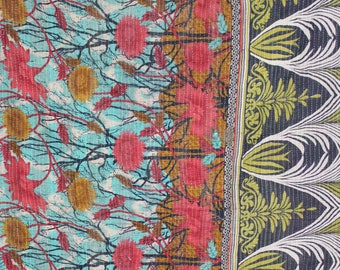 Twin Handmade Reversible Vintage Sari Kantha Quilt Twin Old Cotton Kantha Bedspread Kantha Gudri Cotton Blanket 148