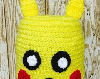 Pikachu inspired crochet hat