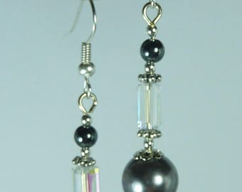 """""""hematite and Crystal"""" Silver earrings jewelry"""