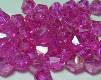 25 4mm pink bicone Crystal beads