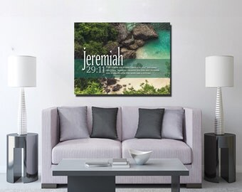 Jeremiah 29:11 #12 NIV 'For I Know the Plans I have for you' Christian Scripture Bible Verse Wall Art Canvas | Religious | Home Decor