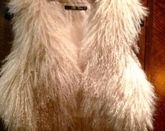 Vintage Sportsgirl Mongolian Lamb Fur Gilet Vest Sleeveless Jacket