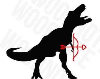 Dinosaur SVG T-REX Valentine SVG Valentine's Day Cupids Bow and Arrow