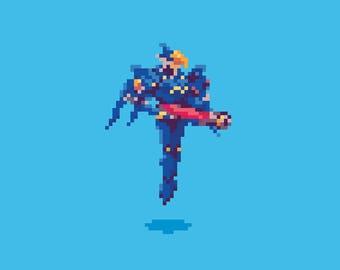 Overwatch / Pharah / Pixel / Art Print