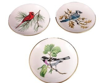 Set of 3 Bird Pin Dishes from Crown Staffordshire