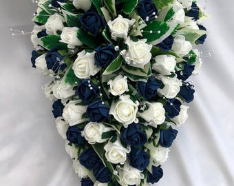 Artificial Wedding Flowers, Brides Teardrop Bouquet, Ivory and Navy Blue Roses, Crystal Sprays