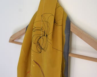 Scarf silk painted by hand
