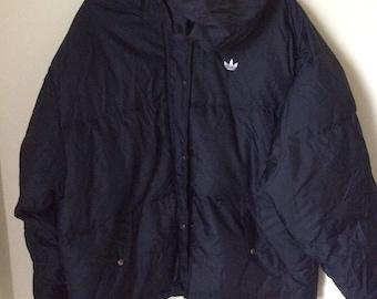 Rare! Adidas jacket puffer black sz L