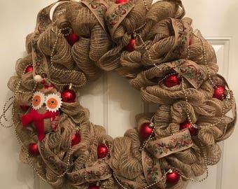 Christmas front door wreath, Christmas wreath