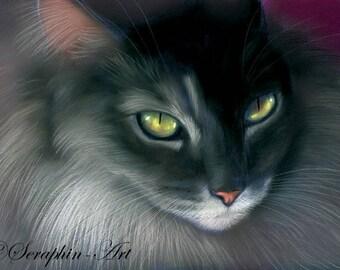 Grey Maine Coon Tabby  Pastel Fine Art Print