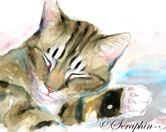 Sleeping Tabby Cat Original Watercolor Painting