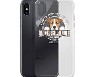 Proud Member of the Jack Russell Terrier Fan Group Dog Rescue Donation iPhone Case - White Text Edition