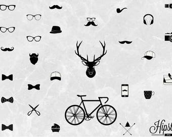 30 Hipster icons clipart