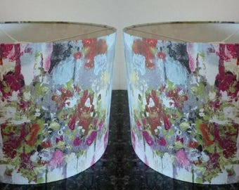 Lampshades / Pair of Lampshades/ Fabric / Handmade / Oil Painted Style / Abstract Lamp / For Ceiling / For Floor Lamp / Light Shade / Drum