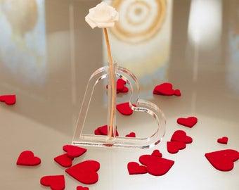 Transparent plexiglass heart vase/flower vase/Valentine's Day