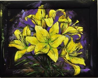 Yellow lilies,  picture in the frame,painting as a gift, Canvas Painting, Abstract Art, Large Wall Art, Original Oil Painting, bulk picture