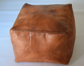 Moroccan leather square natural with oil poufs, ottoman floor round pouf