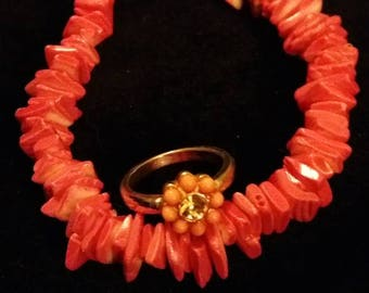Chunky Pink Shell Bracelet and Ring Set