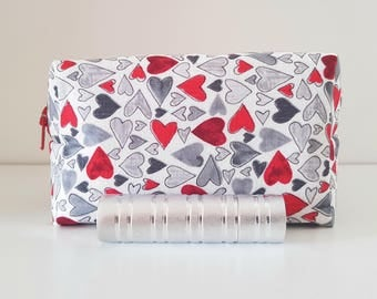 Red grey heart pouch, cosmetics purse, toiletries small bag, etui, smartphone wallet