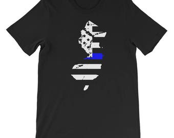 Thin Blue Line New Jersey Police Gifts American Flag Cop T-Shirt - New Jersey Home State - Tee - Shirt - T-Shirt - new jersey shirt - state