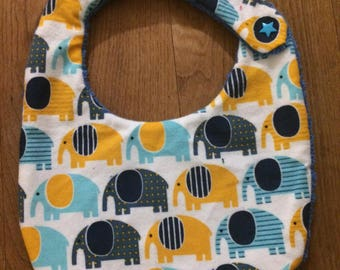 Yellow and blue elephants bib