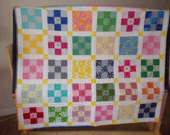 9 Patch baby Quilt,  blue, red, yellow, orange