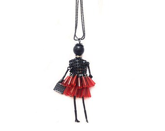 Doll pendant necklace - black and Red