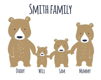 Personalised Four Bear Family
