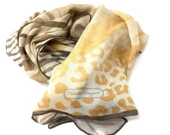 Salvatore Ferragamo Scarf Shawl vintage light fabric with animal print