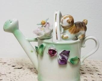Darling Vintage Ucagco Kitten and Watering Can Figurine