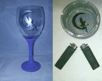 Fairy set, glittered gifts, glitter wine glass, glittered ashtray, gifts for ladies, gift sets, wine and ashtray set