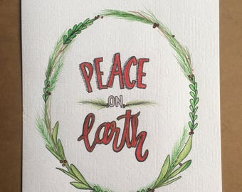 Original PEACE ON EARTH watercolor painting