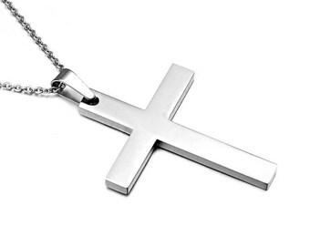 simple cross necklace silver cross pendant jewelry necklace with cross sterling silver cross chain , collier croix argent pendentif croix