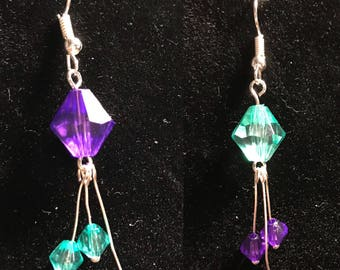 Purple and turqouise briolette earrings // princess jasmine earrings // Briolette dangle earrings (Celia)