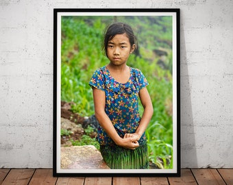 Vietnamese Girl Photo // Vietnam Village Travel Photography, Asian Decor, Asia Wall Art, Hmong Hill Tribe, Mountain Villagers Home Decor