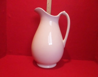 Vintage Warranted Stone China Pottery Ceramic White Wash Pitcher with Lion & Unicorn Crest Stamped on Bottom