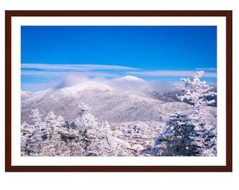 Winter on Mount Washington & Jefferson, from Mt Pierce, Presidential Range, White Mountains, New Hampshire