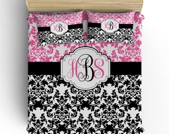 DAMASK BEDDING Comforter- Duvet Cover, Damask Pillowcase, Pink Black Bedroom, Girl Toddler Twin Queen King, Damask Monogram Bedding Set