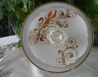 white with gold plate edging