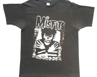 Early 90s Misfits vintage band shirt-XL-The Cramps, Black Flag, Minor Threat, Bad Brains, Circle Jerks, Punk, Dead Kennedys, Ramones, Danzig