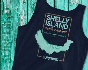 Ladies' Shelly Island NC map tank top • Shelly Island North Carolina • Cape Hatteras Outer Banks shirt