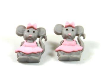 Mice earrings, Mice studs, Pink mice earrings, Mouse studs