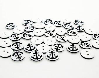 Black anchor button, navy style button, resin button, 10pcs