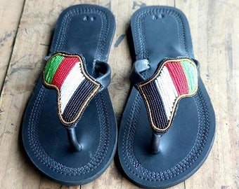 ON SALE AFRICA Shaped Sandals, African Sandals, Masai Sandals, Colorful Sandals, Bohemian Sandals, Summer Sandals, Leather Sandals, Women Sh