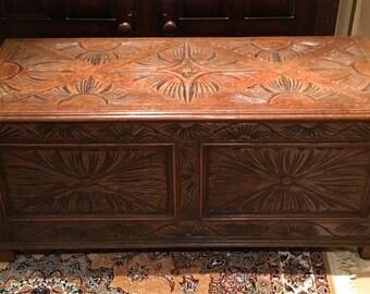 Antique Carved Oak Trunk\Blanket Box