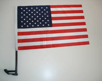 """5 American Car Flags size 10""""X15"""" with black plastic poles size 20"""" Total USD10+10 shipping"""
