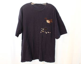 Vintage 90s Embroidered Looney Tunes / Taz Bowling Pocket Tee - XL